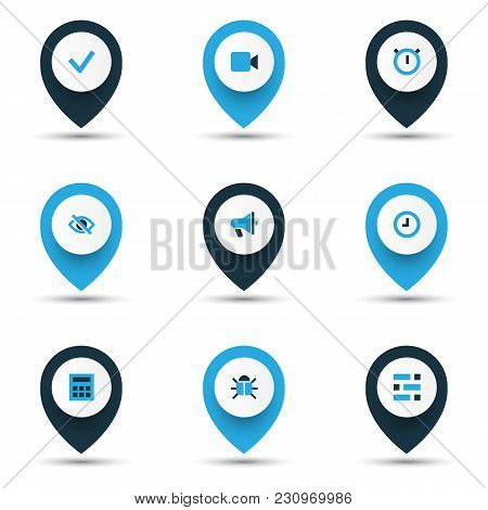 Interface Icons Colored Set With Stopwatch, Video, Announcement And Other Watch Elements. Isolated V