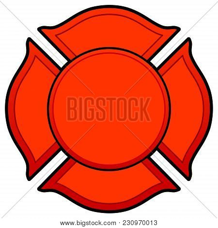Firefighter Logo - A Vector Cartoon Illustration Of A Firefighter Logo Concept.