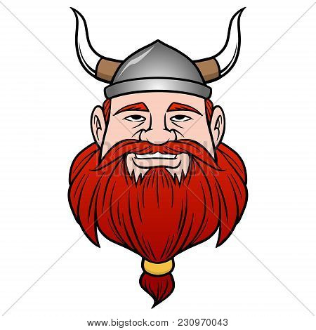 Viking With Beard - A Vector Cartoon Illustration Of A Viking With A Beard.
