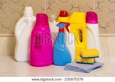 Set Of Multi-colored Plastic Containers For Household Chemicals, Cleaning Products For Home Use.