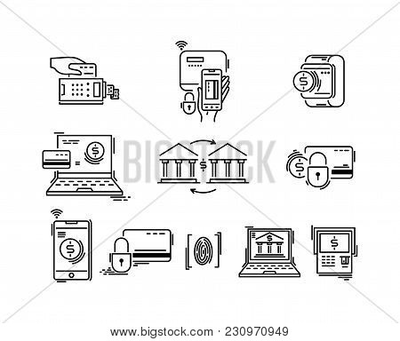 Payment Methods Thin Line Icons. Pay Online, Mobile, Credit Card, Shopping Banking
