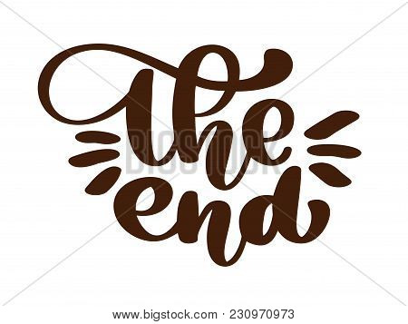 Handdrawing The End Vector Text Lettering Phrase, Ornamental Movie Ending Typography Illustration De