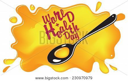 Medical Syrup With A Spoon And The Inscription World Health Day