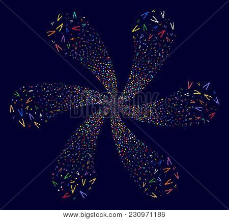 Multi Colored Nippers cycle flower with 6 petals on a dark background. Psychedelic twirl organized from scatter nippers items. poster