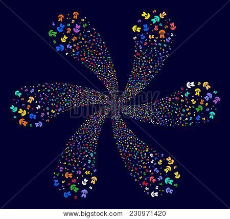 Multicolored Human Anatomy Rotation Flower Cluster On A Dark Background. Suggestive Whirlpool Done F