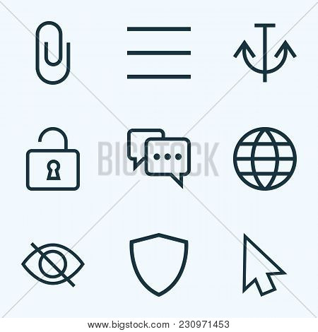 Interface Icons Line Style Set With Pin, Shield, Armature And Other Anchor Elements. Isolated  Illus