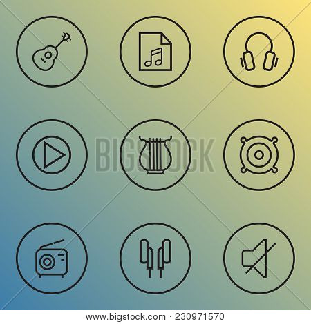Music Icons Line Style Set With Play List, Radio, Earphones And Other Stringed Elements. Isolated  I