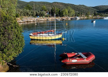 Various Boats At A Sea Shore Near Mt Pelion In Thessaly In Greece