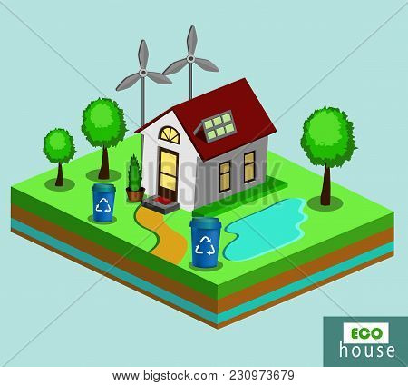 Isometric Eco House With Renewable Energy.vector Illustration Of A Modern Home With Solar Panels And