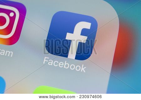 Sankt-petersburg, Russia, March 13, 2018: Facebook Application Icon On Apple Iphone X Smartphone Scr