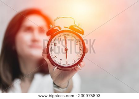 Women Show Clock With Proudly Expression Face Background