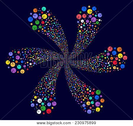Colorful Pharmacy Tablet Spiral Flower Cluster On A Dark Background. Hypnotic Burst Created From Sca