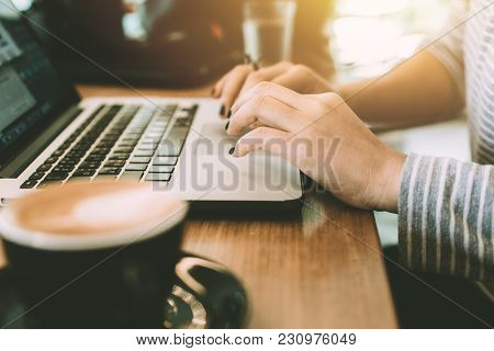 Close Up Hipster Women Hand Using Laptop Touchpad While Working In Cafe