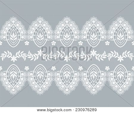 White Lace Border With Floral Pattern On A Gray Background