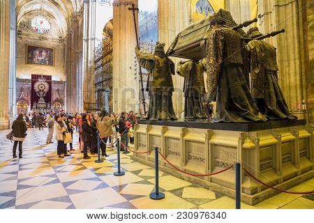 Seville - Mar 16: Unidentified People Visit Seville Cathedral Interior On March 16, 2013