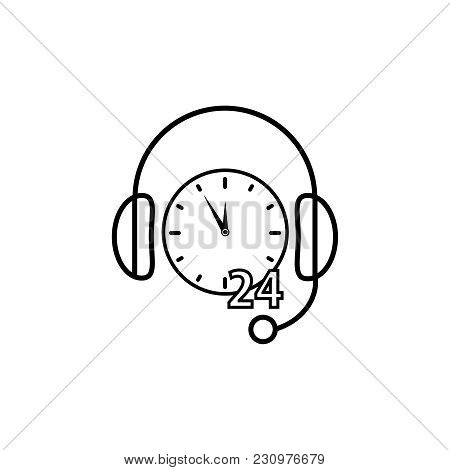 Support Non Stop Time Icon On White Background