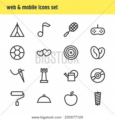 Illustration Of 16 Lifestyle Icons Line Style. Editable Set Of Kitchenware, Casino, Book And Other I