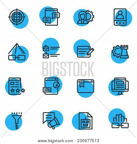 Illustration Of 16 Marketing Icons Line Style. Editable Set Of Blog Commenting, Sitemap, Bug Fixing