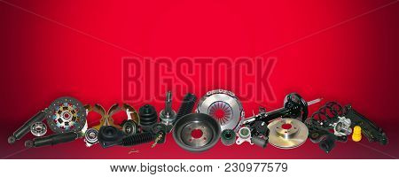 Spare Parts Car On The Red Background Set. Many Auto Parts Are Located On The Edge Of The Image. Oem