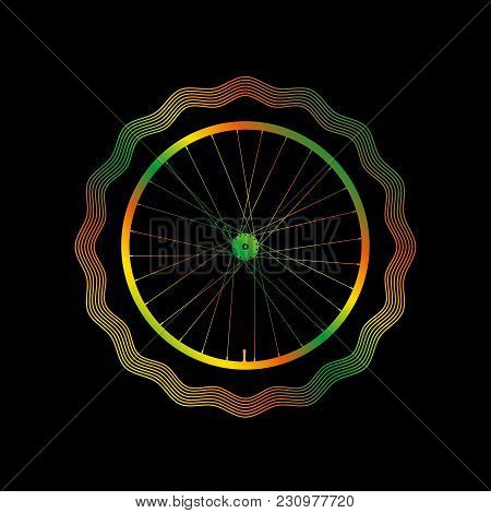 Decorative Bike Rim With Bright Gradient. Guilloche Vector Frame. Illustration On A Black Background
