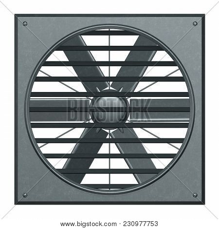 Metallic Ventilation Fan With Jalousie 3d Illustration Render.