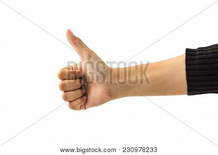 Female Hand Gesture Isolated On White Background With Clipping Path. Woman Hand Thumb Up Showing Goo