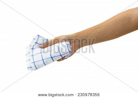 Hand Holding Handkerchief Or Table Wipes Isolated On White Background With Clipping Path. Female Han