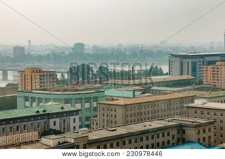 View From Above To The City Of Pyongyang, North Korea