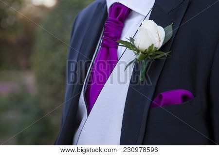 Detail Of A Suit Of Groom With A White Rose In The Lapel Of The Blue Suit With Gray Vest And Tie And