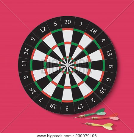 Dart And Dartboard. Vector Illustration On Cherry Background.
