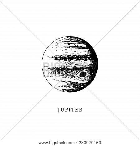Jupiter Planet Image On White Background. Hand Drawn Vector Illustration.