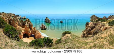 Summer Top View On Sandy Beach Dos Tres Irmaos (portimao, Alvor, Algarve, Portugal). Two Shots Stitc