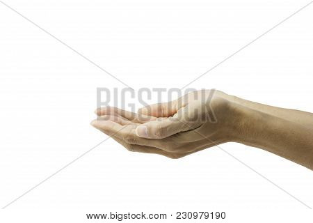 Hand Gesture Open Up Like Holding Something On Palm Isolated On White Background. Clipping Path.