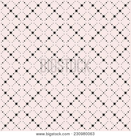 Vector Minimalist Seamless Pattern, Simple Geometric Texture With Small Circles, Dotted Lines In Squ