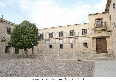 Cobblestone Square In The Village Of Belmonte, Province Of Cuenca, Spain.