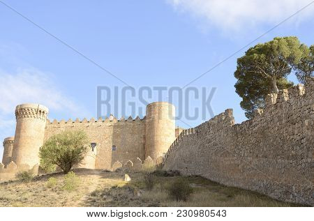Belmonte, Spain -july 29, 2017: Smedieval  Castle On The Hill In The Village Of Belmonte, Province O