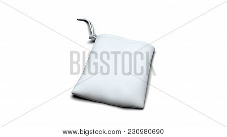 White Ready For Branding Synthetic Fabric Bag With Strings And Drag Fixation Isolated On White Backg