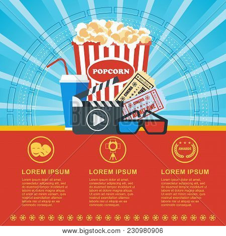 Cinema Concept Poster Template With Popcorn Bowl, Film Strip And Tickets, Realistic Detailed Vector