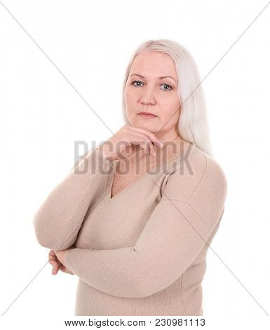 Portrait of female pensioner on white background