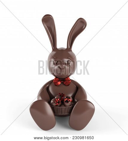 Chocolate Easter Bunny With Eggs And Red Bow-knot. 3d Render. Isolated On White Background