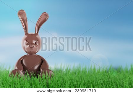 Chocolate Easter Bunny. 3 D Rendering. On Grass