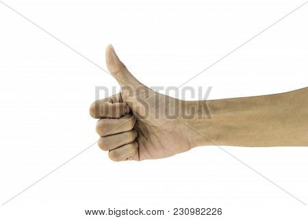 Man Hand Gesture Thumb Up Showing Good, Like, Ok, Agree, Success, Symbol Hand Gesture Isolated On Wh
