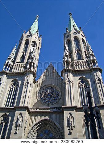 Facade Of The Se Cathedral In Sao Paulo Old Downtown, Brazil