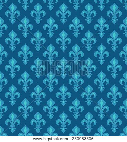 Royal Heraldic Lilies (fleur-de-lis) -- Azure Cerulean Blue Sky Velvet, Seamless Pattern, Wallpaper
