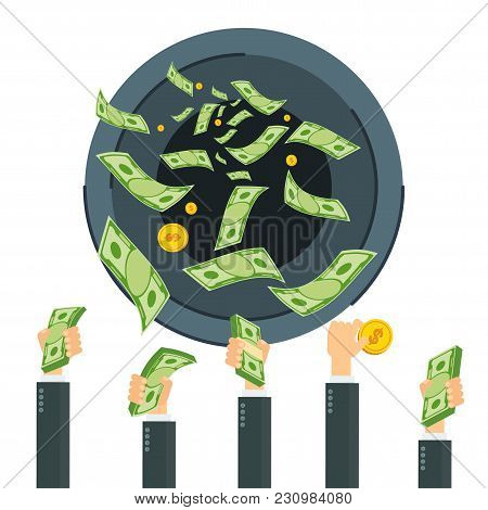 Cash Flow. Banknotes Fly Away Into Black Hole. Bankruptcy And Collapse Of Monetary System. Flat Vect