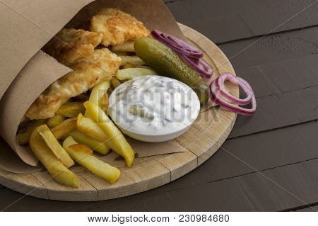 The Fish And Chips. A Traditional English Dish.