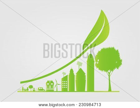 Sustainable Urban Growth In The City,ecology.green Cities Help The World With Eco-friendly Concept I