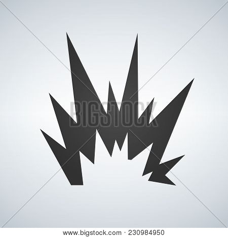 Simple Black Explosion Icon, Isolated On White Background