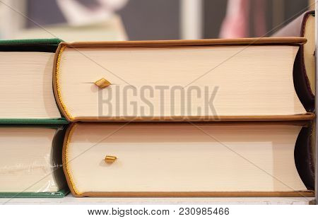 Stack Of Books Stored As  Education And  Business Concept
