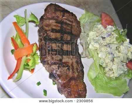 New York Strip And Potato   Salad